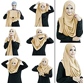 cloudbox Caramel Beige Color Stitched 2 Loop Instant Hijab Scarf For Women
