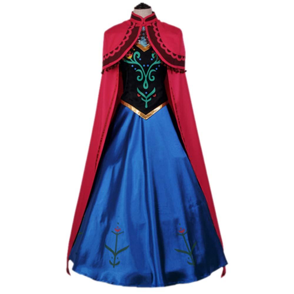 Nihiug Ice Romance Der Gleiche Absatz Anna Princess Kleid Krönungskleid Mantel Halloween Erwachsene COS Kleidung Damenanzug,ROT-L