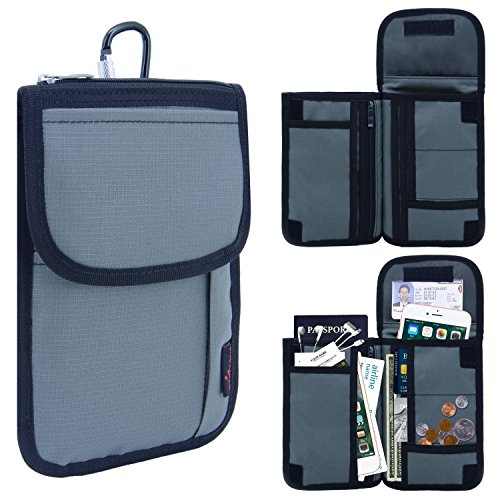 Passport Holder 3 Way With 18 Compartments & Carabiner RFID Blocking Travel Wallet(Army Green)