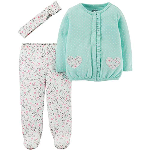 (Child of Mine by Carters Newborn Baby Girl Headband, Cardigan and Footed Pant Set, Blue, Cream, Pink, Newborn)