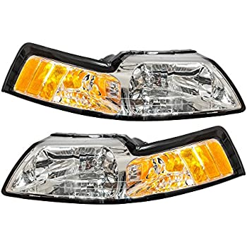 1999-2004 Ford Mustang Factory Style Chrome Headlights Pair 2000 2001 2002 2003