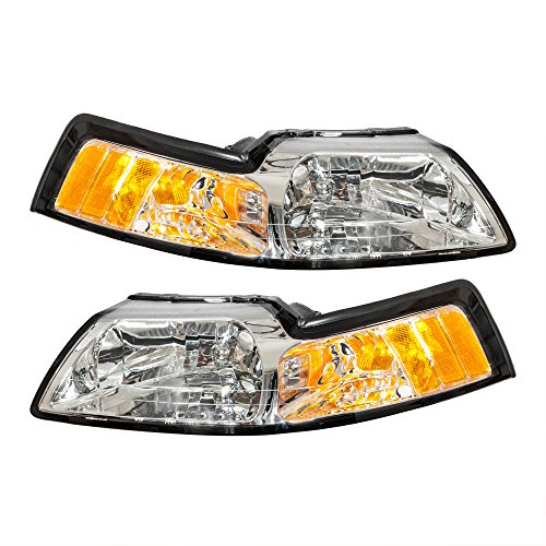 Pair Front Headlight Assembly for Ford Mustang 1999 2000 2001 2002 2003 2004 Left Right Side Replacement Headlamps Driving Light Chrome Housing Clear Lens