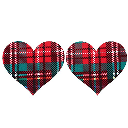 Ayliss 10Pair Nordic Plaid Heart Shape Nipple Covers Disposable Pasties - Women Nude Nordic