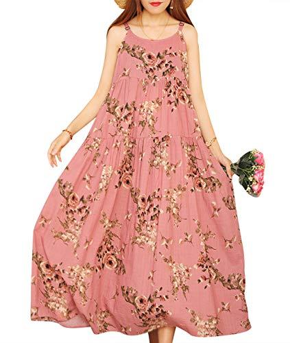 (YESNO Women Casual Loose Bohemian Floral Print Empire Waist Spaghetti Strap Long Maxi Summer Beach Swing Dress XS-5X E75)