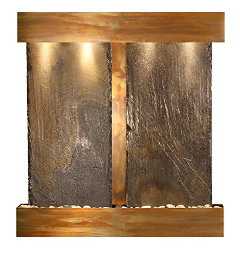 (Aspen Falls Water Feature with Rustic Copper Trim and Square Edges (Natural Multi-color Slate))