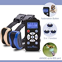 WOLFWILL 800 Yards Dog Training Collar - Waterproof & Rechargeable E-Collar with Beep Automation Adjustable Vibration (2x Collars)
