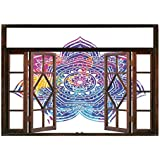 SCOCICI Peel and Stick Fabric Illusion 3D Wall Decal Photo Sticker/Lotus,Watercolor Stylized Vivid Mandala Ethnic Tribal Arabesque Artwork Decorative,Violet Blue Pink Earth Yellow/Wall Sticker Mural
