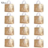 Rumcent Glossy Bling Reusable Grocery Bag Tote Bag With Handle,Non-woven Fashionable Present Bag Gift Bag,Goodies Bag Shopping Bag,Promotional Bag,Totes,Bulk Bags Set Of 12 - Gold
