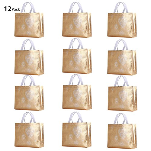 Rumcent Glossy Bling Reusable Grocery Bag Tote Bag With Handle,Non-woven Fashionable Present Bag Gift Bag,Goodies Bag Shopping Bag,Promotional Bag,Totes,Bulk Bags Set Of 12 - Gold