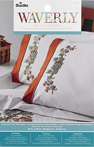 Bucilla 47766 Stamped Embroidery Pillowcases Kit, 2 pc, Charleston Chirp