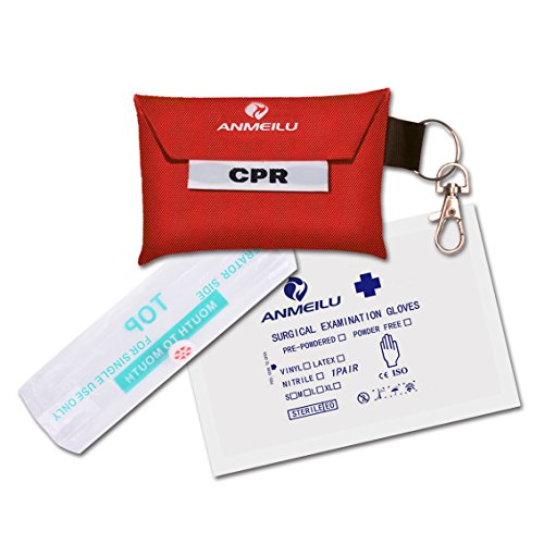 CPR Mask Keychain,Medical CPR Rescue Mask,Ever Ready First Aid CPR Mask Combo Kit,CPR One-Way Valve Mask and exam Gloves Kit (Pack of 1) .ANMEILU