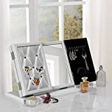 white makeup vanity with glass top Inspired Home Cindy Modern Contemporary 3-in-1 Trifold Tabletop Vanity Mirror with Jewelry Storage and Memo Board, White