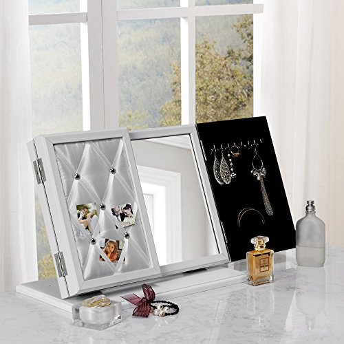 Inspired Home Cindy Modern Contemporary 3-in-1 Trifold Tabletop Vanity Mirror with Jewelry Storage and Memo Board, White ()