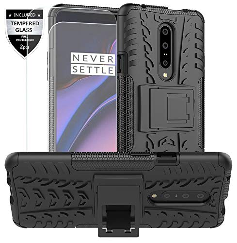 Oneplus 7 Pro Case,One Plus 7 Pro Case with Tempered Glass Screen Protector [2 Pack] SunRemex Kickstand Phone Case and Resilient Shock Absorption for Oneplus 7 Pro Phone (Black)