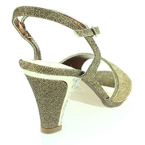 Mujer Señoras Joyado Tacón Del Gatito Diamante De Imitación Noche Fiesta Boda Prom Sandalias Zapatos Talla Marrón