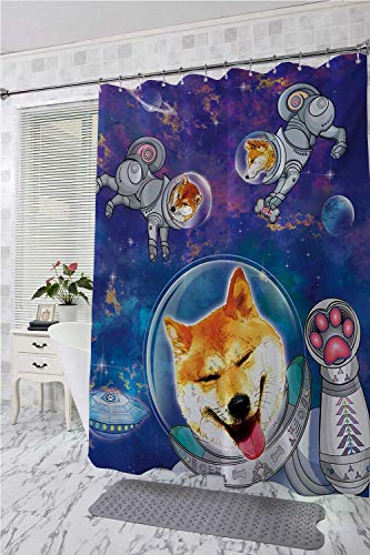 Dog Home Decor Shower Curtain Astronaut Shibas in Space with an Alien Planet Exploring The Unknown Themed Cartoon Wide Shower Curtain Multicolor W55 x L84