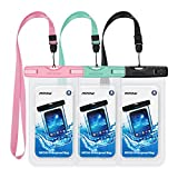 Mpow Waterproof Case, Universal IPX8 Waterproof Phone Pouch Underwater Phone Case Bag for iPhone X/8/8P/7/7P, Samsung Galaxy S9/S9P/S8/S8P/Note 8, Google Pixel/LG/HTC up to 6.0'' (Pink Blue Black)