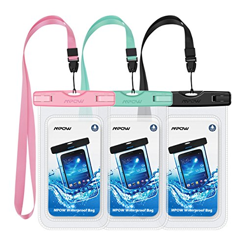 Mpow Waterproof Case, Universal IPX8 Waterproof Phone Pouch Underwater Phone Case Bag for iPhone X/8/8P/7/7P, Samsung Galaxy S9/S9P/S8/S8P/Note 8, Google Pixel/LG/HTC up to 6.0 (Pink Blue Black)