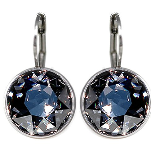 CP Bella Black Diamond Rhodium-Plated Earrings Made with Swarovski Crystals - Belle Crystal