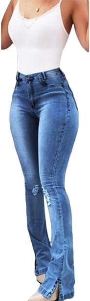 RollingBronze Women High Waist Denim Jeans Stretch Slim Bell Bottom Pants Retro Flare Trousers
