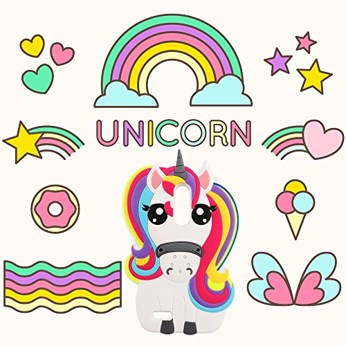 """Case for ZTE Zmax Pro,Rainbow Unicorn Horse Shaped Animal Fashion 3D Cute Cartoon Character Protective Skin Soft Rubber Silicone Case Back Cover for ZTE Zmax Pro / ZTE Z981 (6.0"""" Inch)(Unicorn)"""