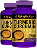 Piping Rock Turmeric Curcumin Advanced Complex 1500 mg Per Serving 2 Bottles x 120 Quick Release Capsules Herbal Supplement
