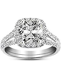 1.13 Carat GIA Certified 14K White Gold Split Shank Cushion Cut Diamond Engagement Ring (0.63 Ct E Color VS1 Clarity Center)