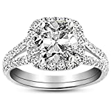 1.51 Carat GIA Certified 14K White Gold Split Shank Cushion Cut Diamond Engagement Ring (1.01 Ct J Color SI2 Clarity Center)