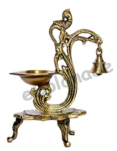 eSplanade - Lotus Shaped Round Brass Diya | Oil Lamp | Home Decor | Brass Diya | Brass Deepam | Brass Lamps | Kuthu Vilakku | Oil Lamp, Lamps for Home and Office. (Peacock Diya with Bell) by eSplanade
