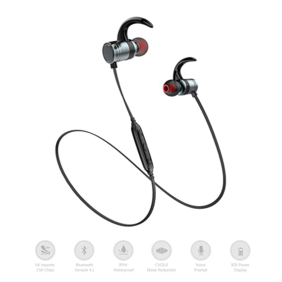 AWEI AK7 inteligente auriculares Bluetooth, de control magnético inalámbrico auriculares Bluetooth IPX4 impermeable, 10h