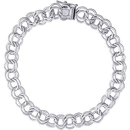 Rembrandt Charms, 8'' Large Double Link Curb Classic Charm Bracelet, .925 Sterling Silver by Rembrandt Charms