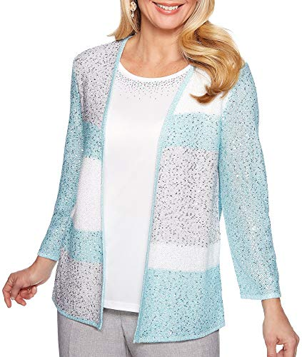 Alfred Dunner Versailles Sequin Colorblock Two for One Sweater Multi ()