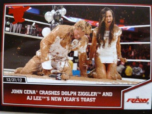 2013 Topps Best of WWE Wrestling Card #75 John Cena Crashes Dolph Ziggler and AJ Lee