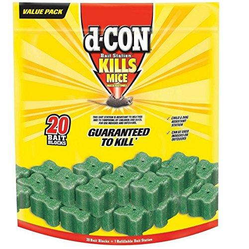 d-CON Refillable Corner Fit Mouse Poison Bait Station, 1 Trap + 20 Bait Refills