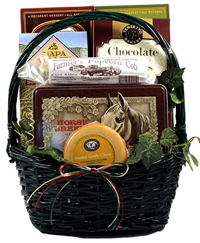 Horsing Around Gift Basket For Horse Lovers With Collectors Tin of Playing Cards Depicting Breeds of the World, 6 Pound