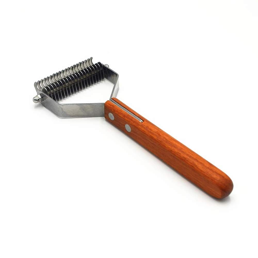 BZZBZZ Pet Open Knot Comb, Cat Dog Hair Bottom Brush, Go Floating Hair Open Knot Comb, Stainless Steel 10 Teeth / 20 Teeth, Rosewood Solid Wood, Pet Supplies
