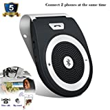 Bluetooth Car Speakerphone, Bluetooth 4.1 Wireless Audio Music Receiver Sun Visor Portable Hands Free Bluetooth Car Kit for iPhone, iPad, Samsung Galaxy,HTC,LG, Android (iPhone 7/Plus Samsung Suppor