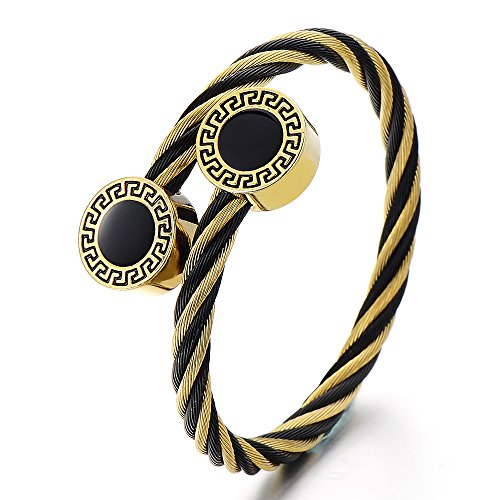 Mens Stainless Steel Twisted Cable Cuff Bangle Bracelet with Greek Key Pattern Black Gold (Two Tone Gold Greek Key)