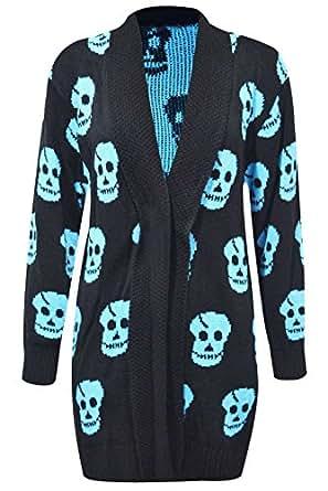 Thever Women Ladies Halloween Skull Skeleton Print Open Front Knitted Cardigan (S/M(6-8), Aqua)
