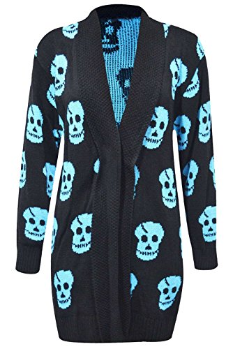Thever Women Ladies Halloween Skull Skeleton Print Open Front Knitted Cardigan (X/L(14-16), Aqua)