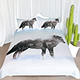 ARIGHTEX Grey Wolf Duvet Cover Wild Animal Bedding Winter Wolf in Forest 3 Piece Vintage Inspired Wildlife Bed Sets for Teens (Full)
