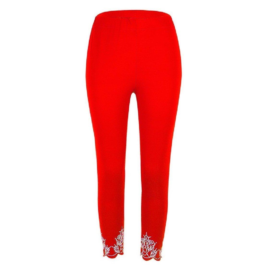 Fieer Women's Solid-Colored Oversized Floral Printed Slim Yoga Capri Legging