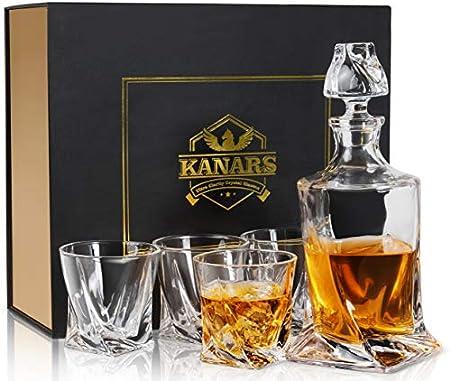 KANARS Jarra de Whisky, 5 Piezas, 100% Libre de Plomo Cristalino Resistente Botella de Whisky Set para Scotch, Bourbon,800ml Decantador y 4 Vasos de Whisky 300ml, Caja de Regalo