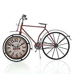 14.4x10 Handcrafted Metal Bicycle Analog Silent Quartz Desk Clock,vintage Rustic Look,Glass on Front (Red Bicycle)