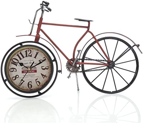 Chaomian Home Ornaments 14.4 x10 Handcrafted Metal Bicycle Analog Silent Quartz Desk Clock,Vintage Rustic Look,Glass on Front Red Bicycle