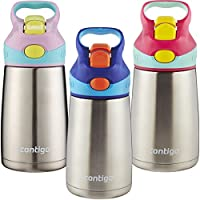 Contigo AUTOSPOUT Straw Striker Chill Stainless Steel Kids Water Bottle, 10 oz, Cherry Blossom