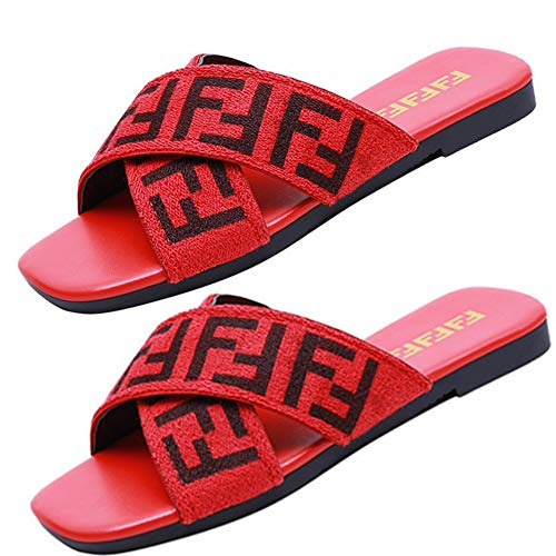 Women's Fashion PU Letter Print Elastic Band Crossover Slippers Antiskid Rubber Bottom Beach Shoes (7M US-40, ()