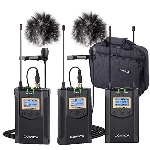 Wireless Microphones Comica CVM-WM100 PLUS Professional UHF Dual Wireless Lavalier Lapel Microphone System for Canon Nikon Sony Panasonic DSLR Cameras,XLR Camcorder,Smartphone etc.(2TX+1RX) ...