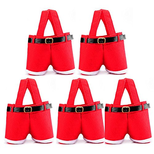Conjugal Bliss 5PCS Christmas Gift Wrap Bags Red Santa Claus Sack Pants Treat Bags Portable Candy Gift Baskets Wrap for Wedding Home Office Mall Hotel Party Decoration Candy Bag (RED)