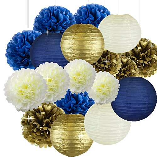 Cream Navy Blue Gold 8inch 10inch Tissue Paper Pom Pom Paper Flowers Paper Honeycomb Paper Lanterns for Navy Blue Themed Party,Party Decoration Bridal Shower Decor Baby Shower Decoration -